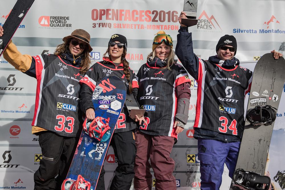 Sieger des OPEN FACES SILVRETTA MONTAFON 2016. // OpenFaces/SilvrettaMontafon/Maria Knoll v.l.n.r.: Carl Renvall, Nuria Castan, Hazel Semmelink und Lukas Huber.