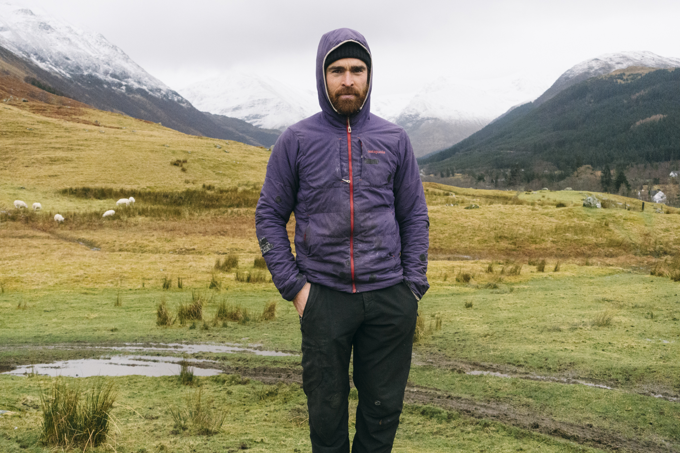 Sean Villanueva O'Driscoll on set in Northern Scotland for the next Worn Wear Film.
