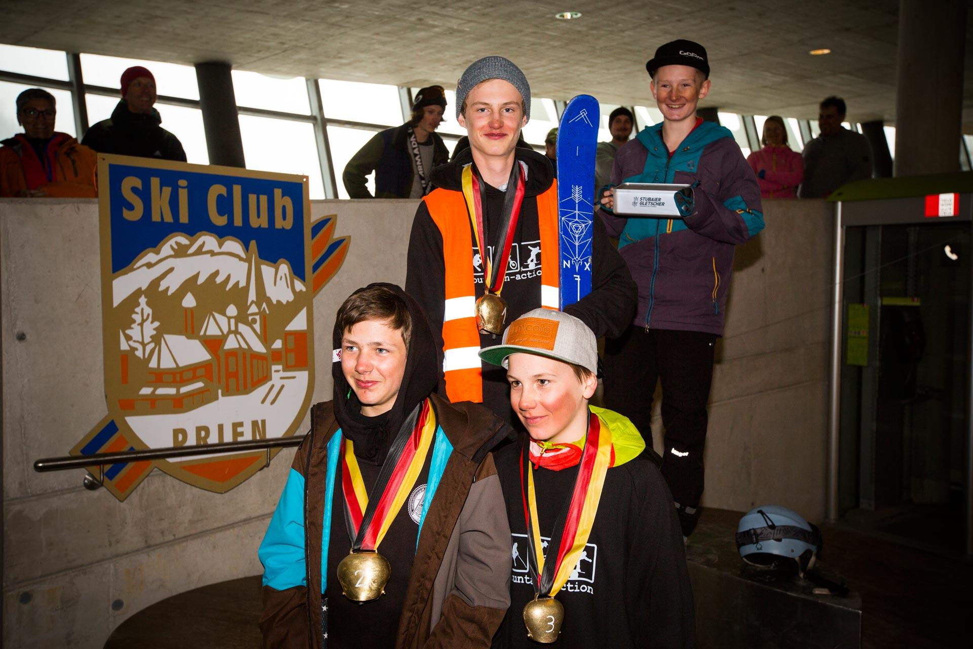 Podium der Boys, Jahrgang 02 - 03: Emil Rothbauer, David Zehentner, Martin Aigner - Foto: Florian Breitenberger