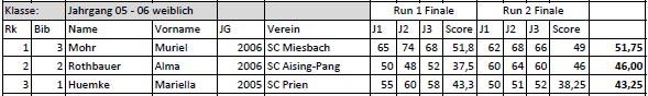 Deutsche Meisterschaft 2016 Endergebnis: Mädchen 2005 - 2006