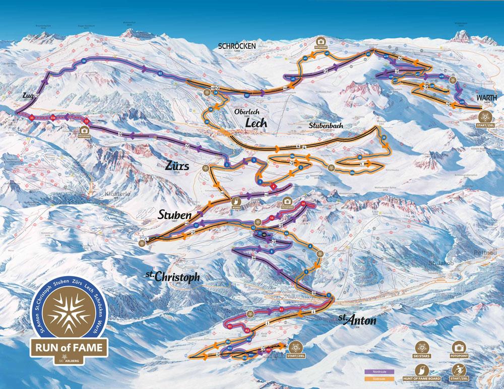 """Ab Winter 2016/17 können Pistenfans das gesamte Arlberg-Gebiet auf dem """"Run of Fame"""" erkunden. Bildnachweis: Ski Arlberg"""