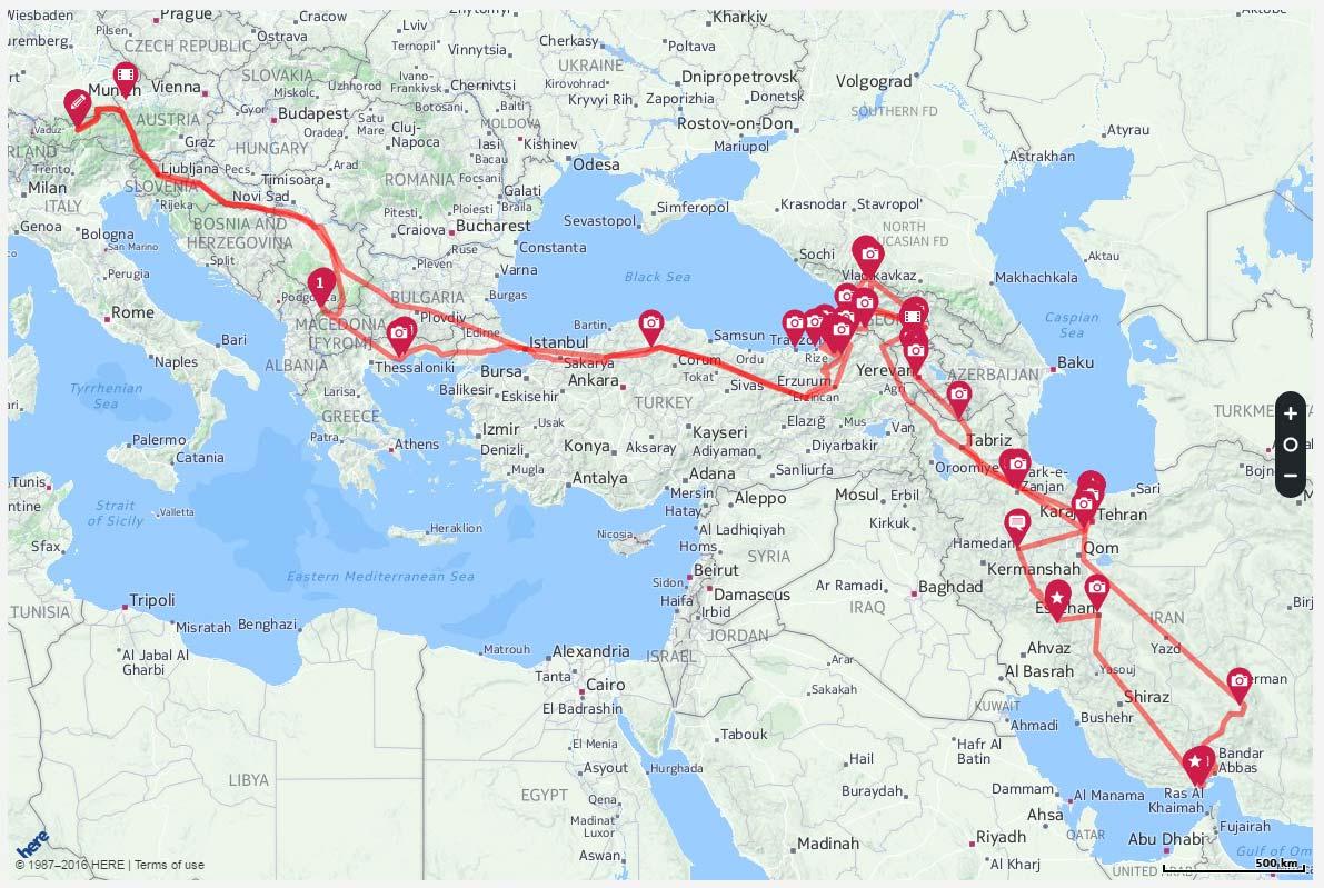 Diese Route legte die Gruppe auf ihrem Trip zurück. Wahnsinn!!