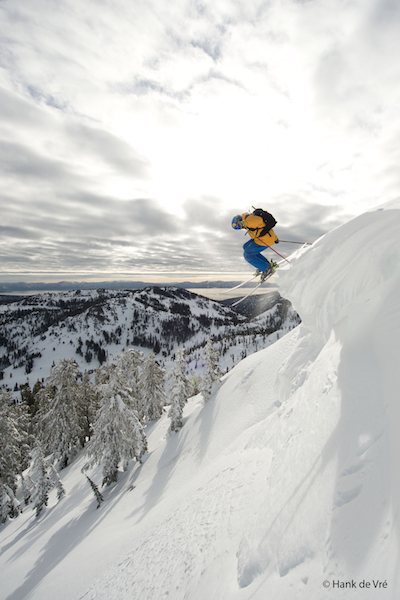 Chuck Patterson dropping in or Warren Miller films at Alpine Meadows