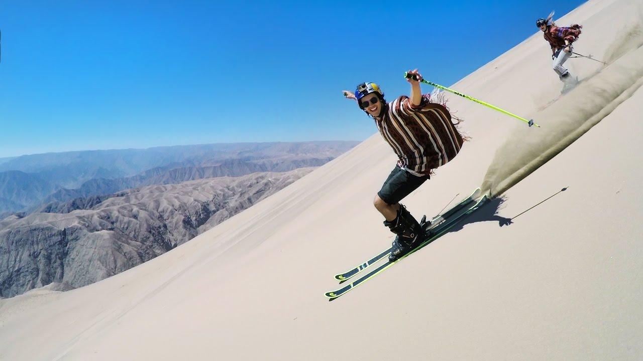 Freestyle Sand-Skiing mit Jesper Tjäder und Emma Dahlström