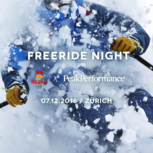 Bächli und Peak Performance präsentieren: Freeride Night am 7. Dezember 2016