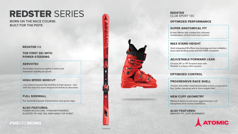 Der neue Atomic Redster G9 sowie der Redster Club Sport 130 Skischuh
