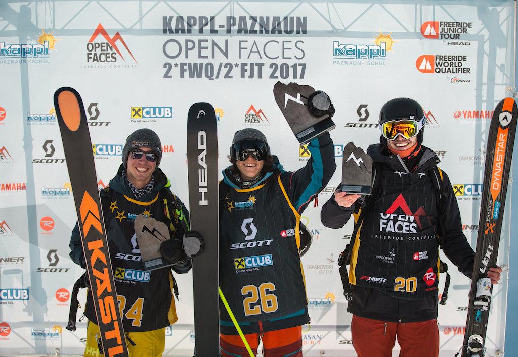 Das Podium bei den Ski Herren: (v.l.) Luca Beran, Tao Kreibich, Martin Krautschneider - Foto: OpenFaces / M. Knoll