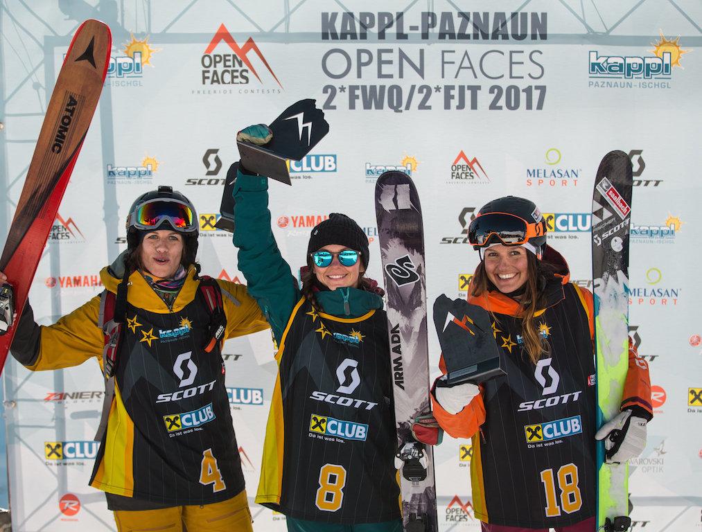 Das Podium bei den Ski Damen: (v.l.) Jacoba Kriechmayr, Malene Madsen, Sabine Schipflinger - Foto: OpenFaces / M. Knoll