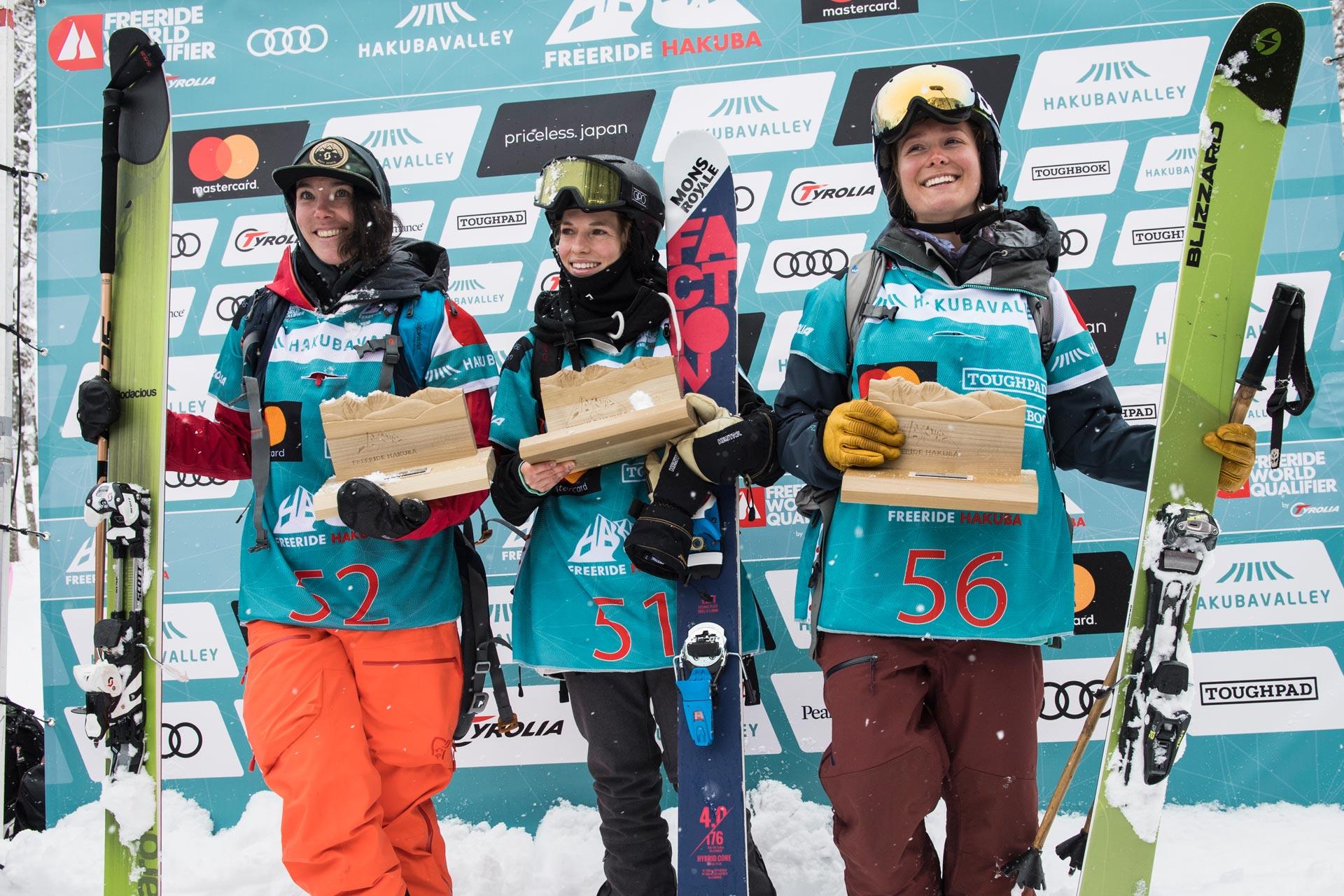 Top 3 Ladies: Caite Zeliff (USA) , Elisabeth Gerritzen (SUI), Jaclyn Paaso (USA) (v.l.n.r.) - Foto: freerideworldtour.com / J. Halayko