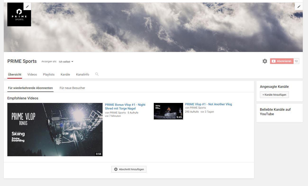 Der brandneue PRIME Sports Youtube Channel mit regelmäßigen Vlogs aus der Freeski- und Snowboardszene