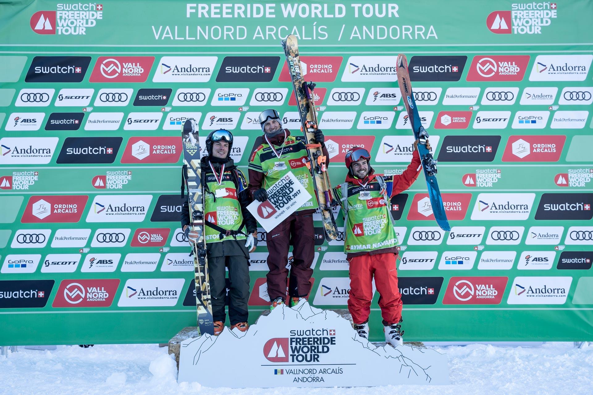 Die Top 3 Männer beim Freeride World Tour Stopp in Vallnord-Arcalis: Kristofer Turdell, Drew Tabke und Aymar Navarro Combalie