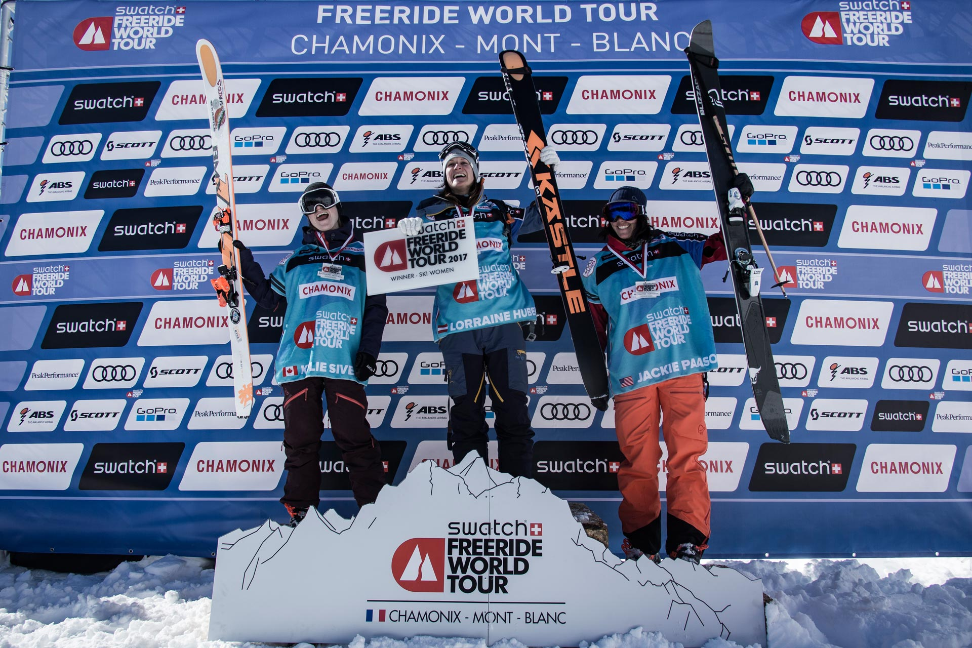 Die Top 3 Ladies in Andorra (Nachholcontest aus Chamonix): Kylie Sivell (CAN), Lorraine Huber (AUT) und Jaclyn Paaso USA) - Foto: freerideworldtour.com / D. Daher