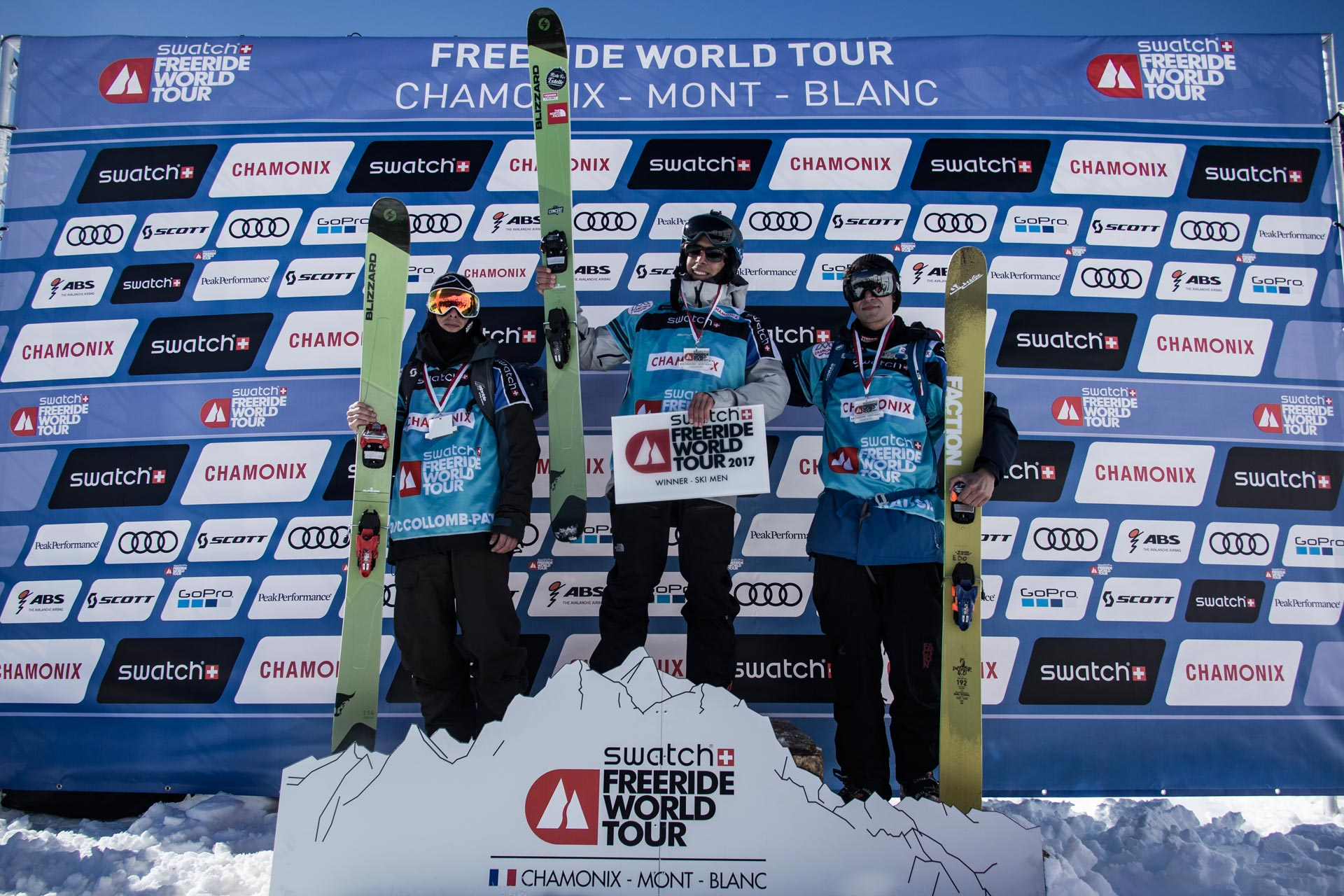Die Top 3 Men in Andorra (Nachholcontest aus Chamonix): Loic Collomb-Patton (FRA), Léo Slemett (FRA) und Yann Rausis (SUI) - Foto: freerideworldtour.com / D. Daher