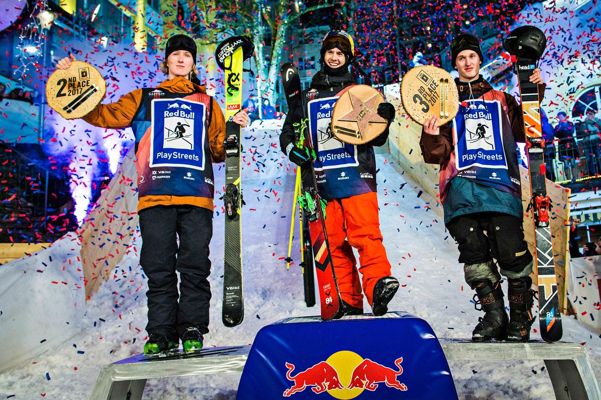 Die Gewinner der Playstreets 2017: Andri Ragettli, Jesper Tjäder und Lukas Müllauer. Actionbilder vom City-Contest findet ihr oben - Foto: Red Bull Content Pool