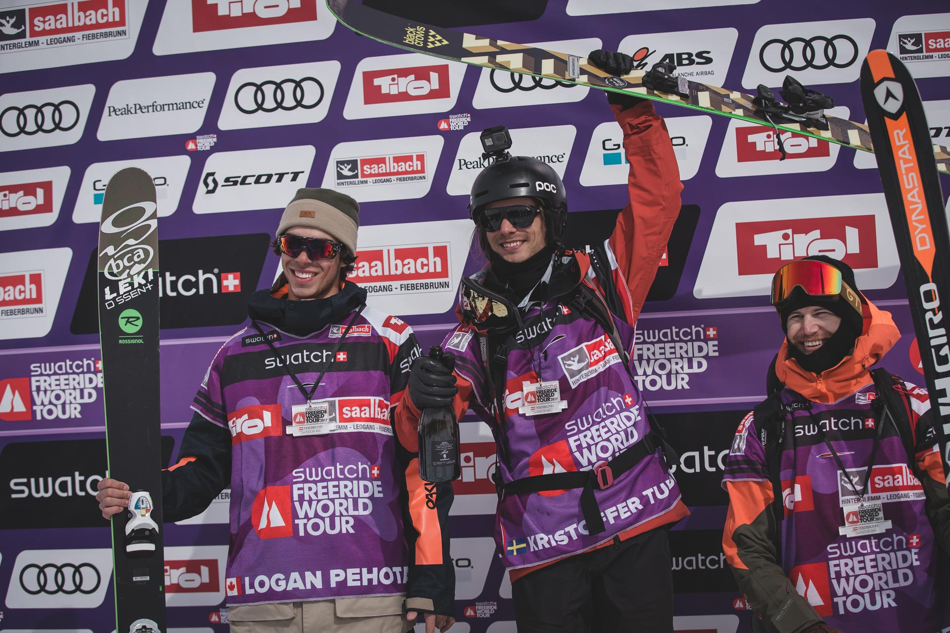 Die Top 3 Männer beim Freeride World Tour Stopp in Fieberbrunn 2017: Logan Pehote, Kristofer Turdell und Reine Barkered - Foto: freeridewordltour.com / Mia Knoll