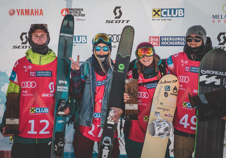 Die vierglücklichen Gewinner vom Open Faces Freeride Contest 2017 in Obergurgl Hochgurgl: Craig Murray, Verena Vendl, Manuela Mandl und Clement Bochatay - Fot: Mia Knoll