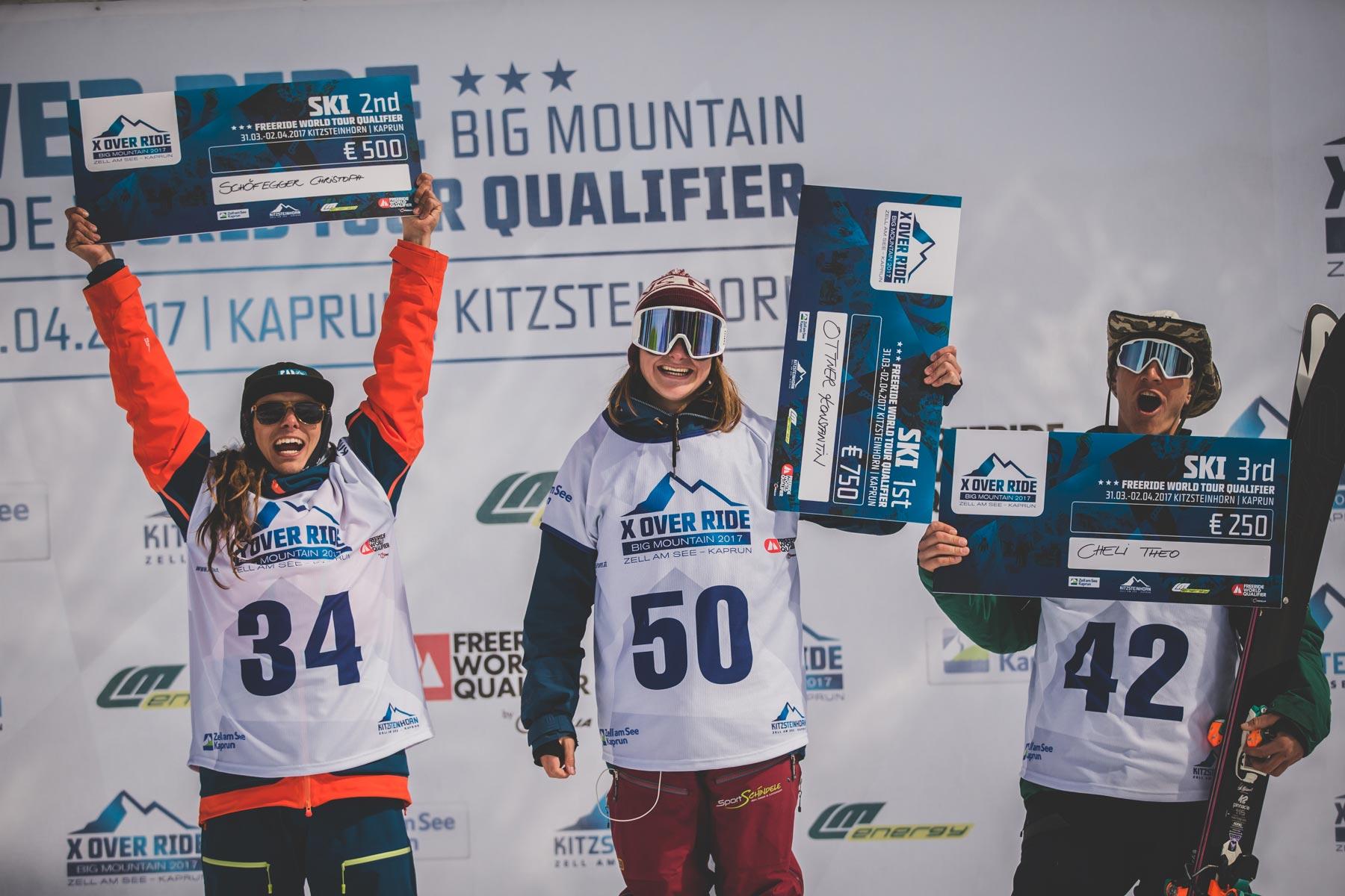 Die drei besten Männer beim X Over Ride2017 am Kitzsteinhorn: Theo Cheli, Konstantin Ottner und Christoph Schöfegger - Foto: Mia Knoll
