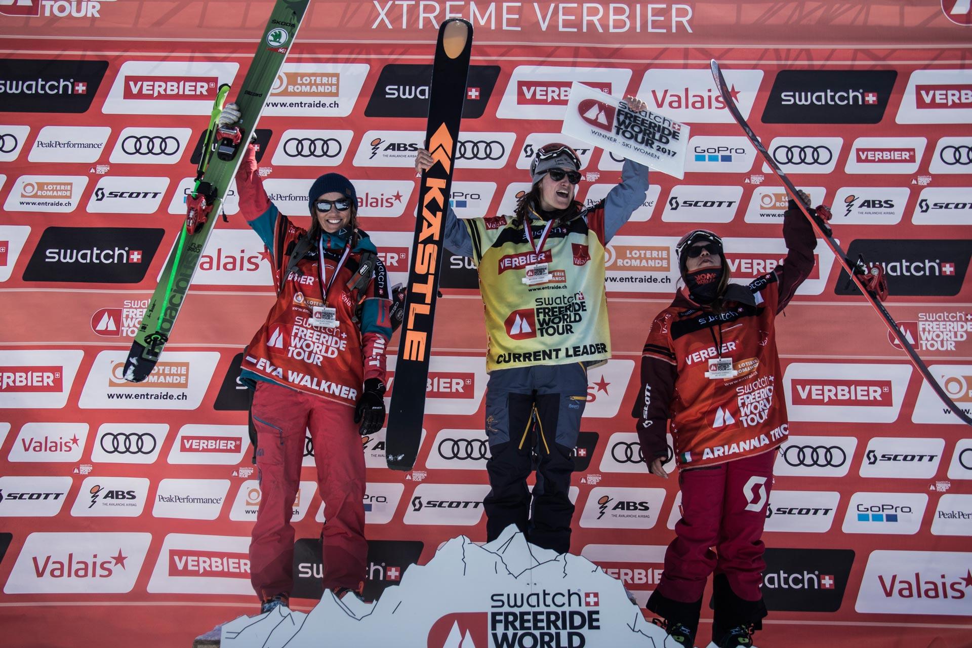 Die neue Freeride Weltmeisterin 2017: Lorraine Huber! Auf dem zweiten Platz (links) Eva Walkner, der dritte Rang geht an die Italienerin Arianna Tricomi - Foto: D. Daher