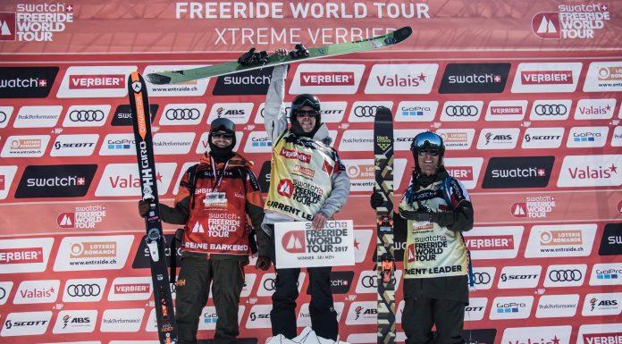 Der neue Freeride Weltmeister 2017: Léo Slemett. Der zweite Platz im GEsamtranking geht an Reine Barkered, den dritten Platz sichert sich Kristofer Turdell - Foto: D. Daher