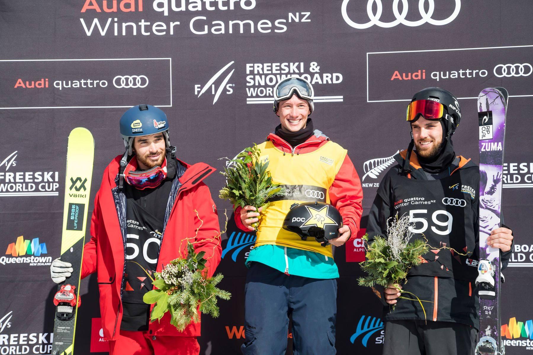 Die Top 3 Männer beim ersten FIS Halfpipe Contest der Saison 17/18: Kevin Rolland (FRA), Alex Ferreira (USA), Simon d'Artois Skiing (CAN) (v.l.n.r.) - Foto: FIS Freestyle / Neil Kerr / Winter Games