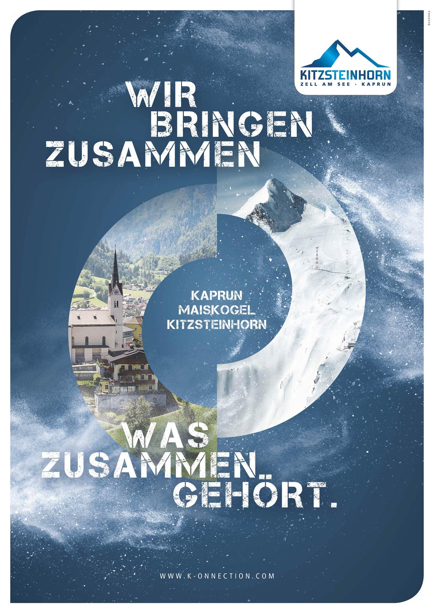 Flyer für die Fusion des Maiskogels mit dem Kitzsteinhorn - Foto: Gletscherbahnen Kaprun AG