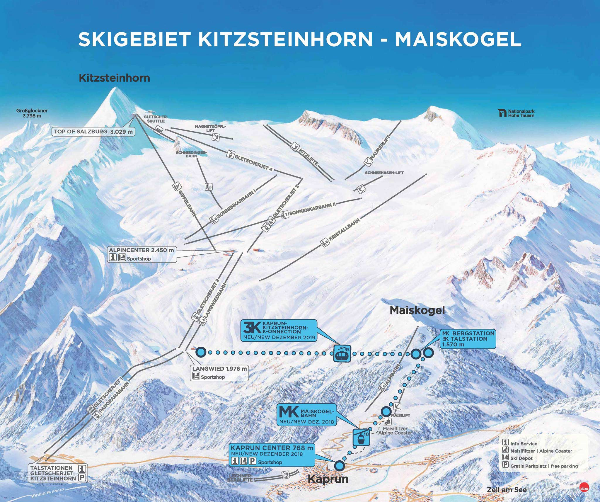 So soll die Verbindung zwischen dem Maiskogel und dem Kitzsteinhorn umgesetzt werden - Foto: Gletscherbahnen Kaprun AG