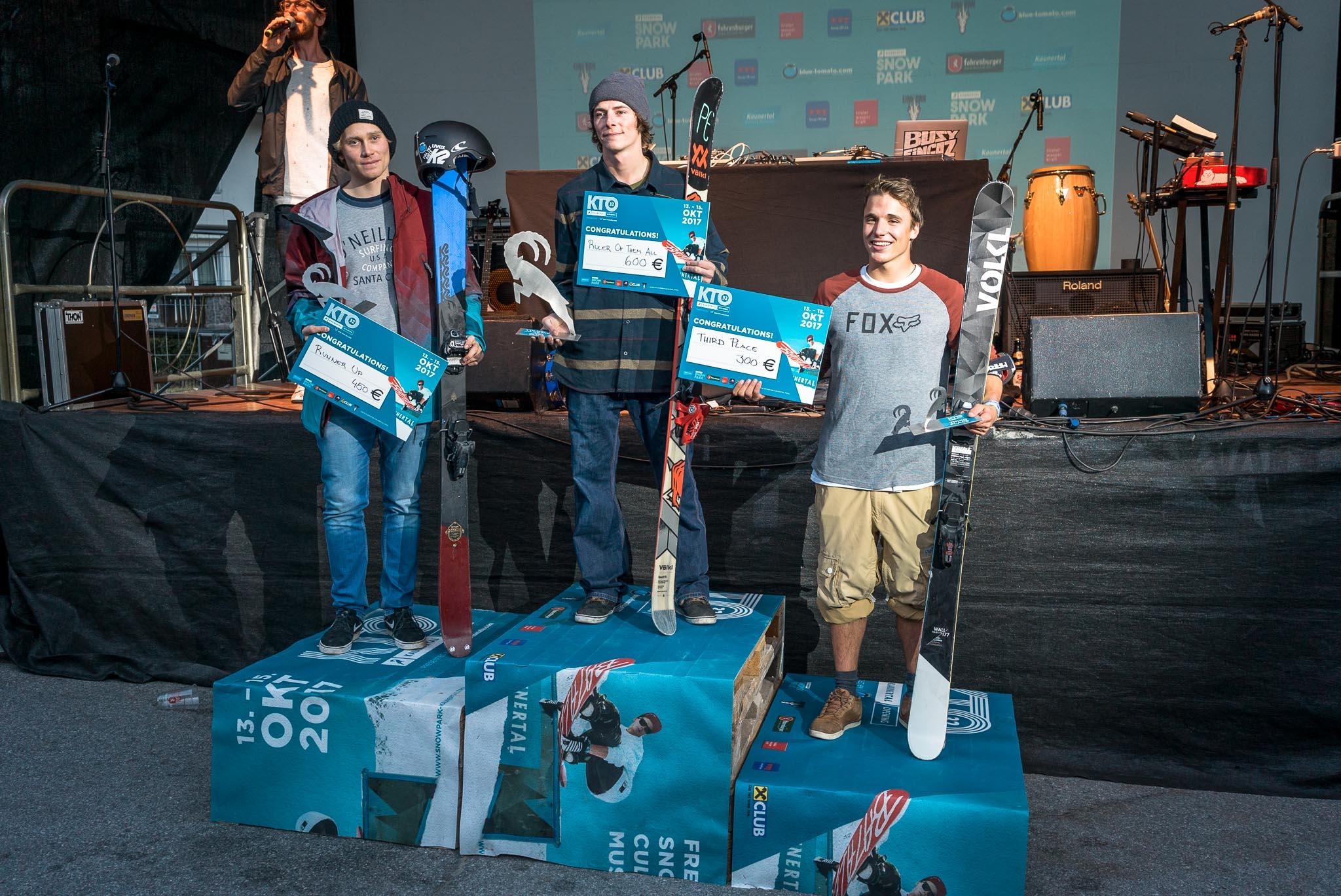 Die Top 3 Freeskier (Men) beim Kaunertal Pro Contest 2017: Tobi Müller (DE), Manuel Pleifer (AT), Michael Tschallener (AT)