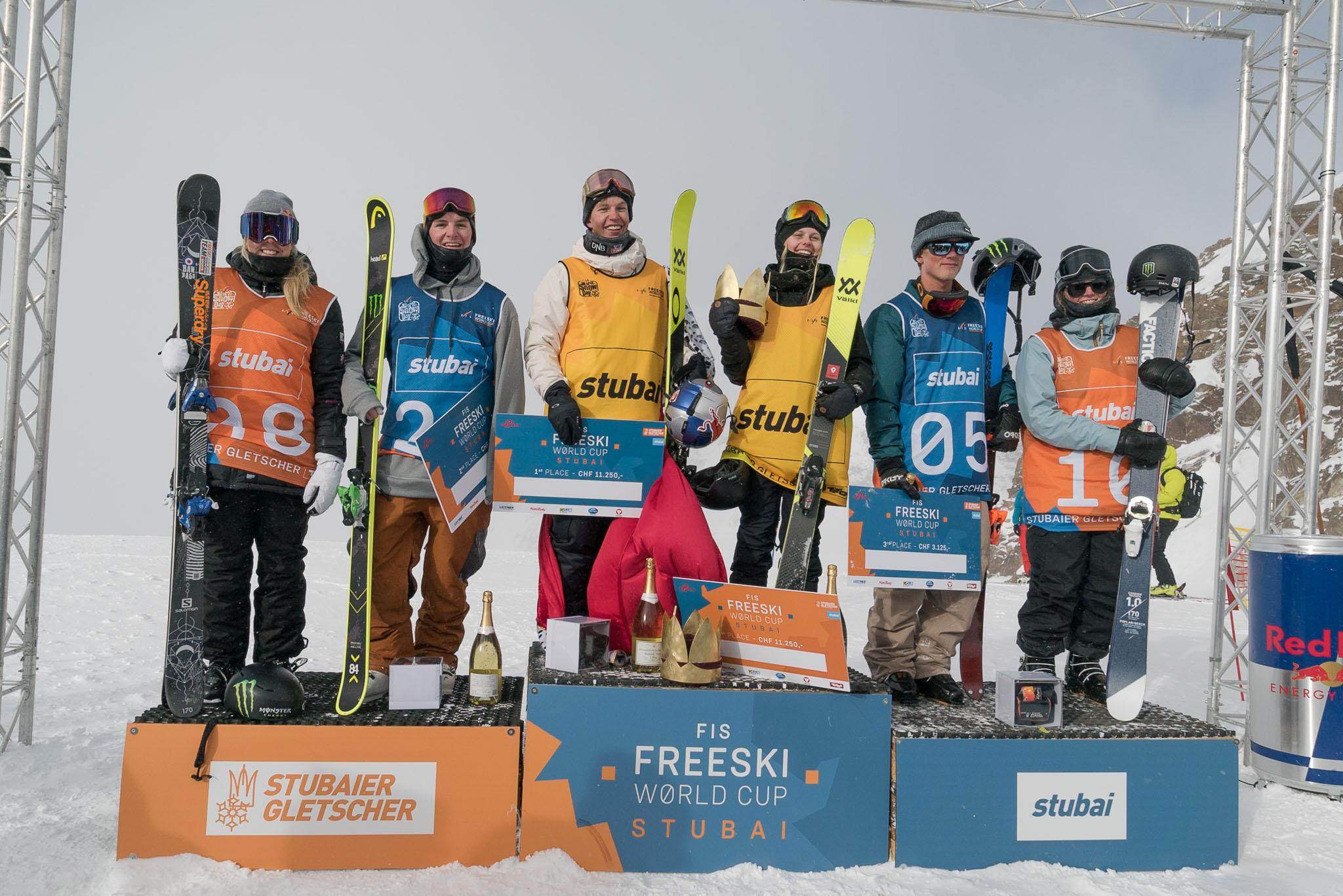 Alle glücklichen Gewinner des Stubai Freeski Worldcups 2017 auf einen Blick: Katie Summerhayes, Evan McEachran, Oystein Braten, Jennie-Lee Burmansson, Colby Stevenson und Claire Caroline (v.l.n.r.)