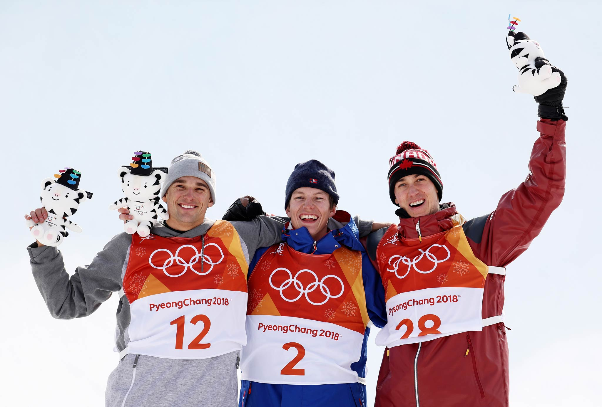 Die drei besten Slopestyle Fahrer bei den Olympischen Spielen 2018: Nick Goepper (USA), Øystein Bråten (NOR) und Alex Beaulieu-Marchand (CAN) - Foto: Eurosport