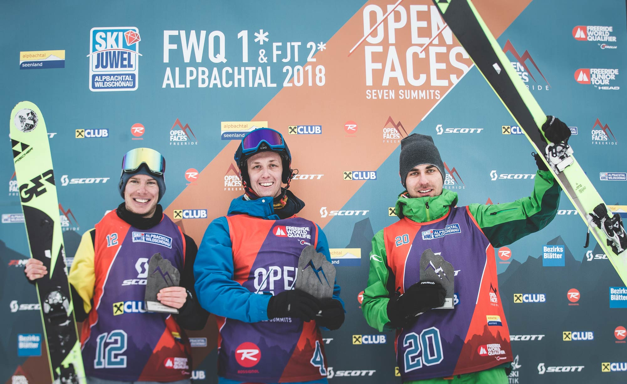 Die Top 3 Männer beim Open Faces Freeride Contests in Alpbach (FWQ): Bernhard Gigler, Philipp Koller und Markus Breitfuß (alle aus Österreich) - Foto: Open Faces / Mia Knoll