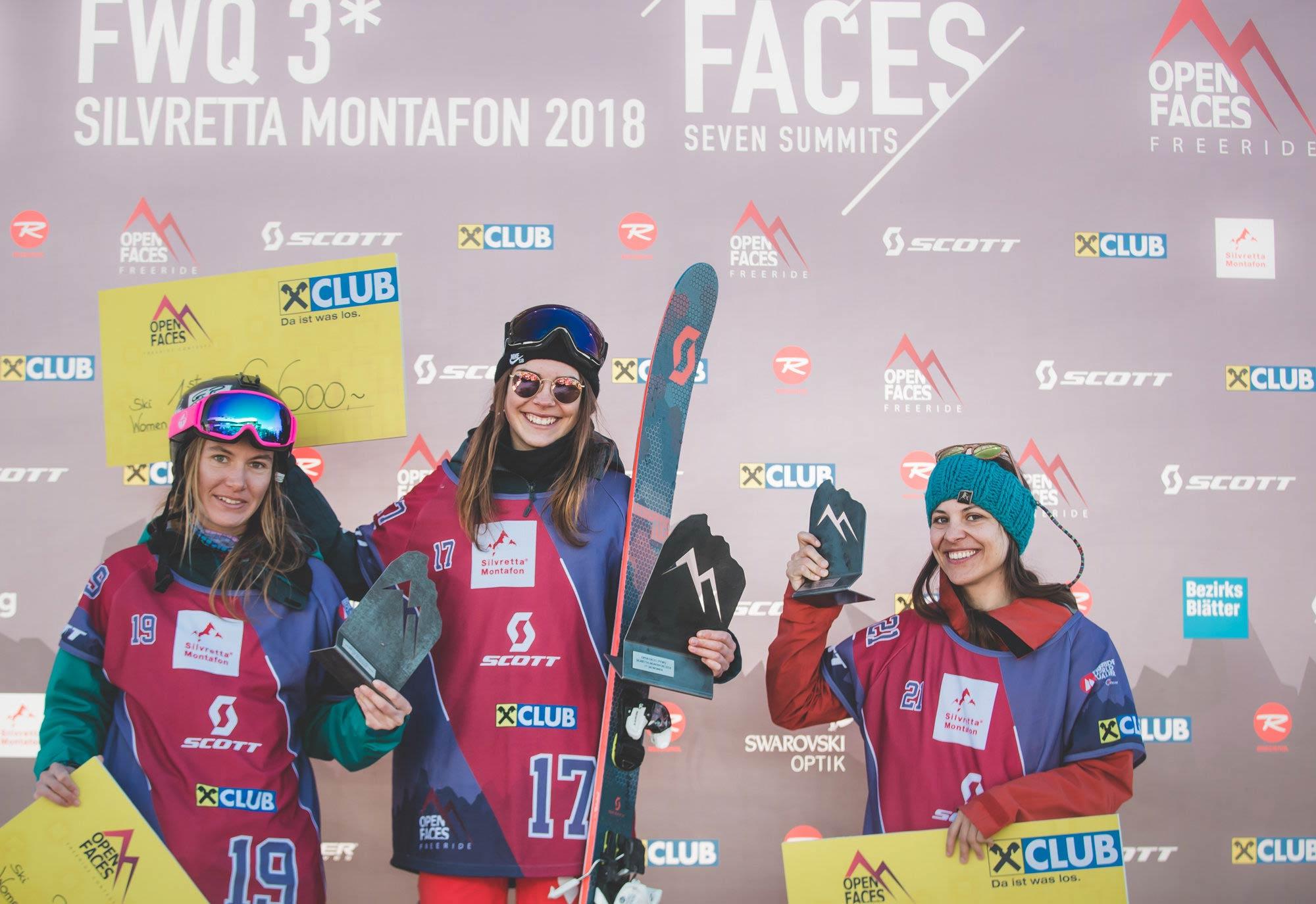 Die drei besten Frauen beim Open Faces Freeride Contest in Silvretta-Montafon (2018): Elena Mitrengova, Laura Überbacher und Claudia Klobasa - Foto: Open Faces/Mia Knoll