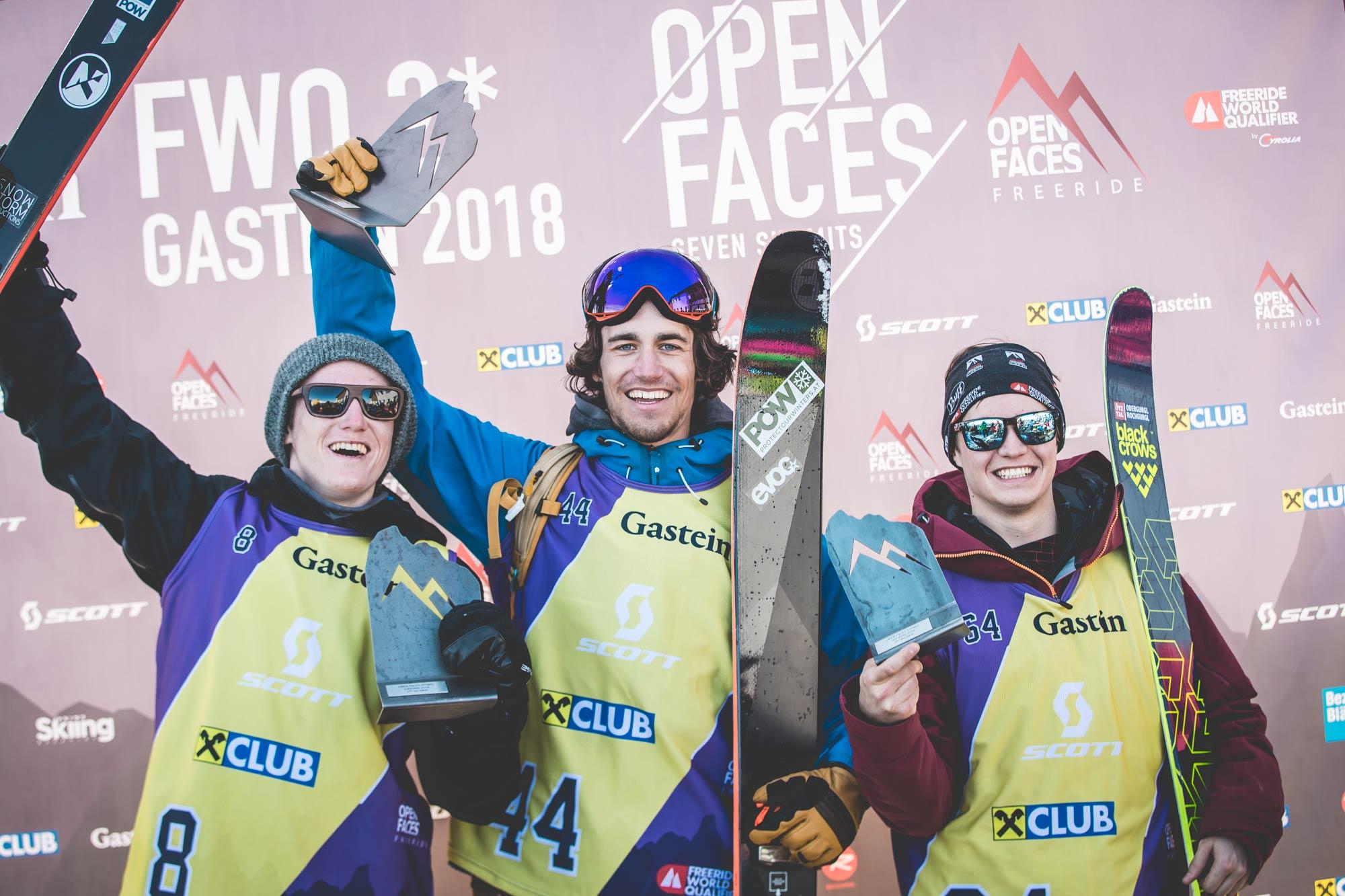 Die Top drei Männer beim Open Faces Freeride Contest in Gastein (2018): Valentin Werner-Tutschkud, Sebastian Hiersche und Andreas Neurauter - Foto: Open Faces / M. Knoll