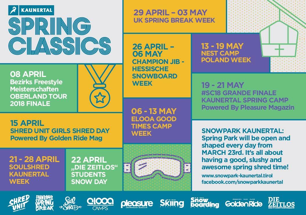Programmübersicht für die Spring Classics 2018 im Snowpark Kaunertal