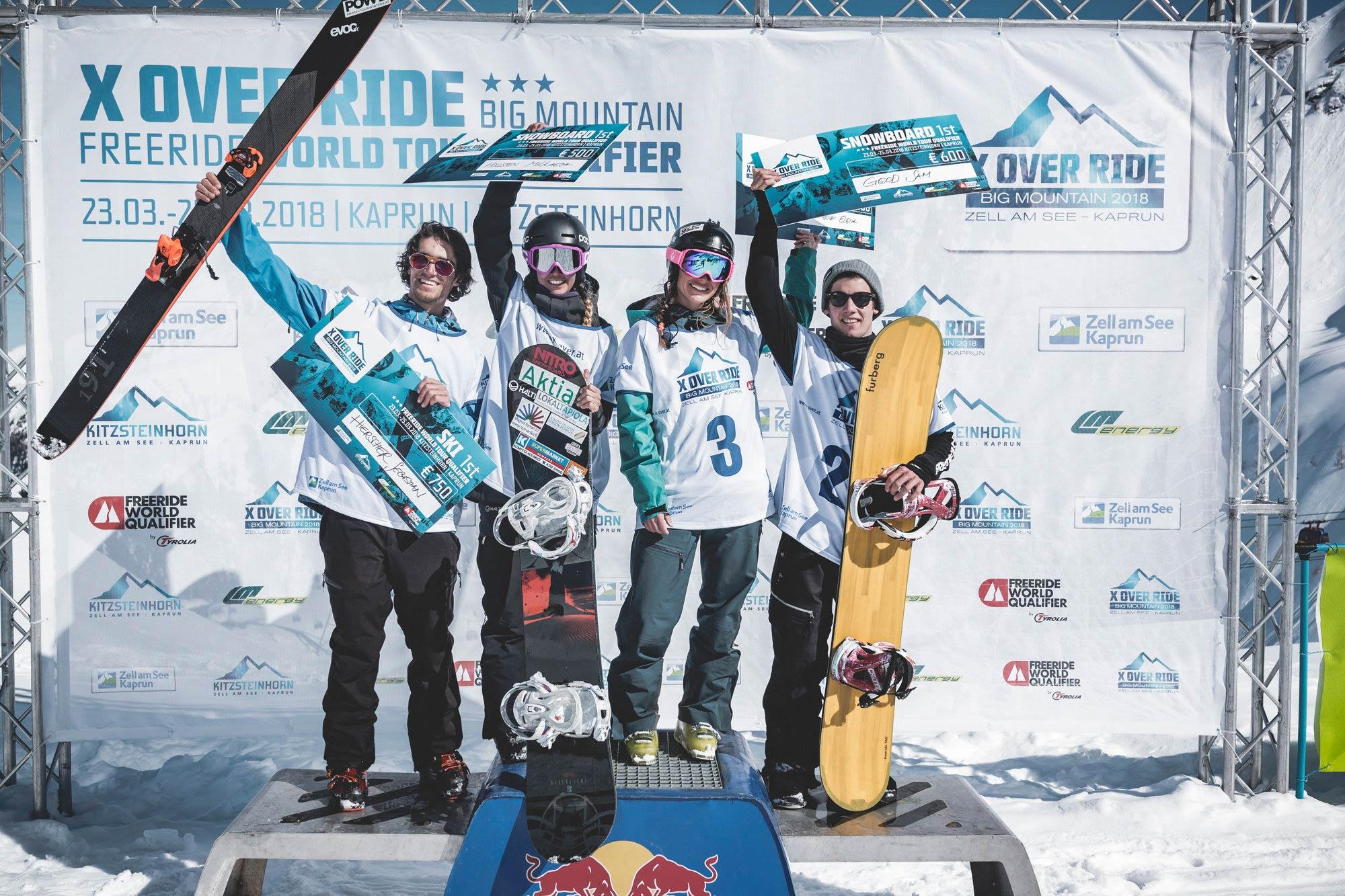 Alle Gewinner des X Over Ride 2018: Sebastian Hiersche (Ski Men), Mikaela Hollsten (Snowboard Women), Elena Mitrengova (Ski Women), Sam Good (Snowboard Men) (v.l.n.r.) - Foto: X Over / Klaus Listl
