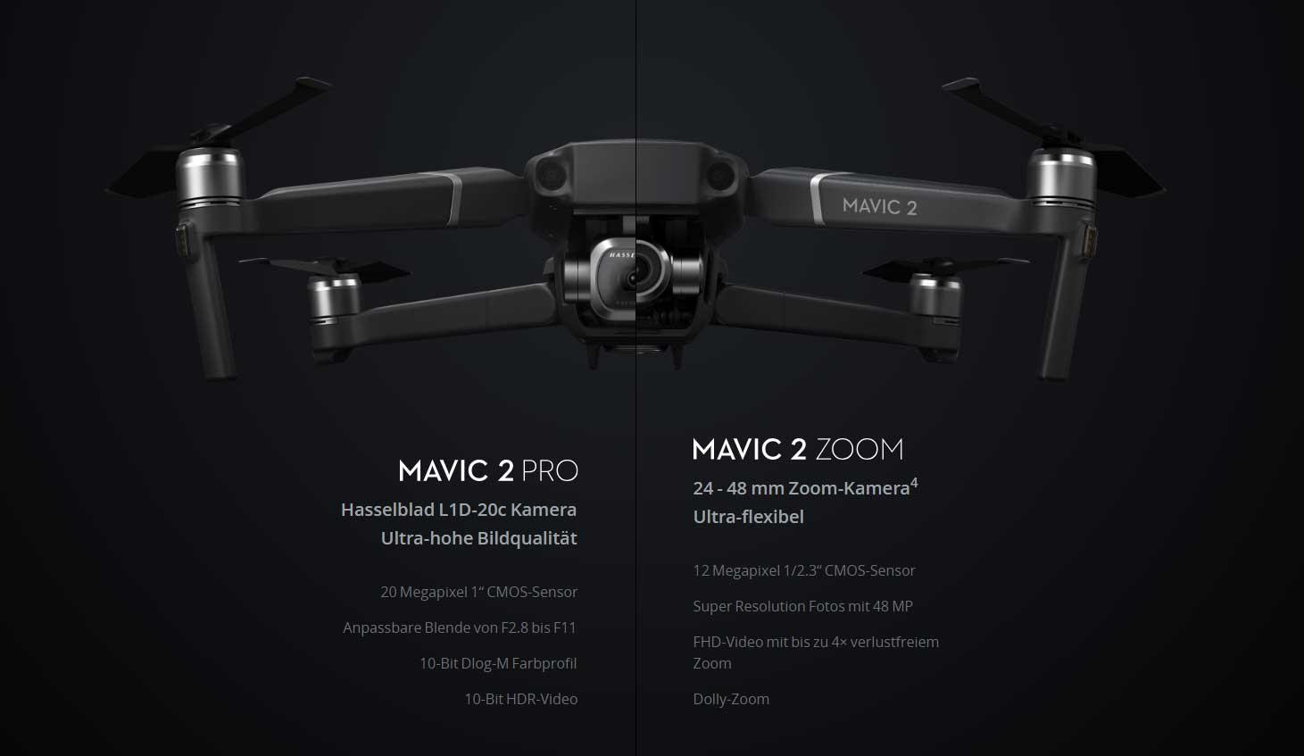 Neue Drohnen von DJI: Mavic 2 Pro und Mavic 2 Zoom