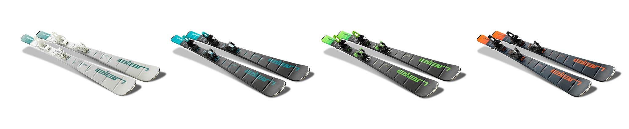 Die Elan Element Skis in White, Blue, Green und Orange und werden in fünf verschiedenen Längen angeboten.
