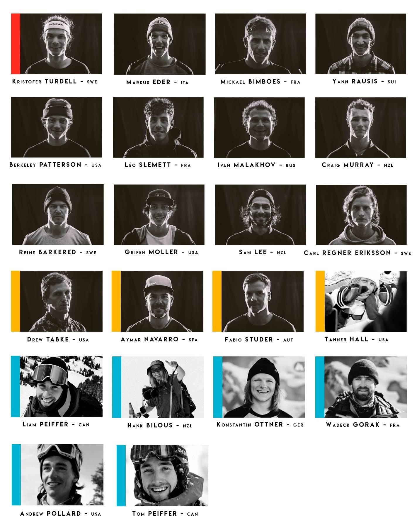 Alle Starter (Ski) bei der Freeride World Tour 2019