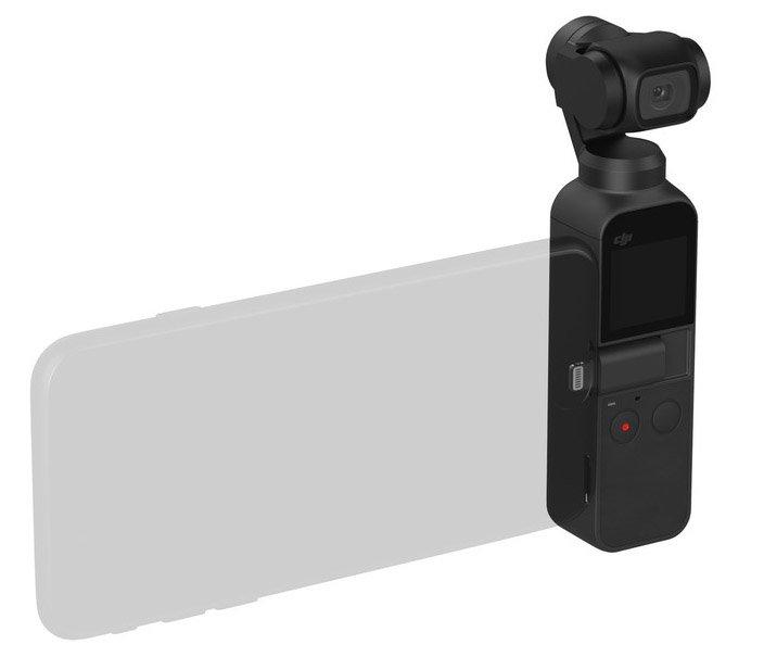 Das eigene Smartphone kann an der DJI Osmo Pocket als Bildschirm verwendet werden - Foto: DJI