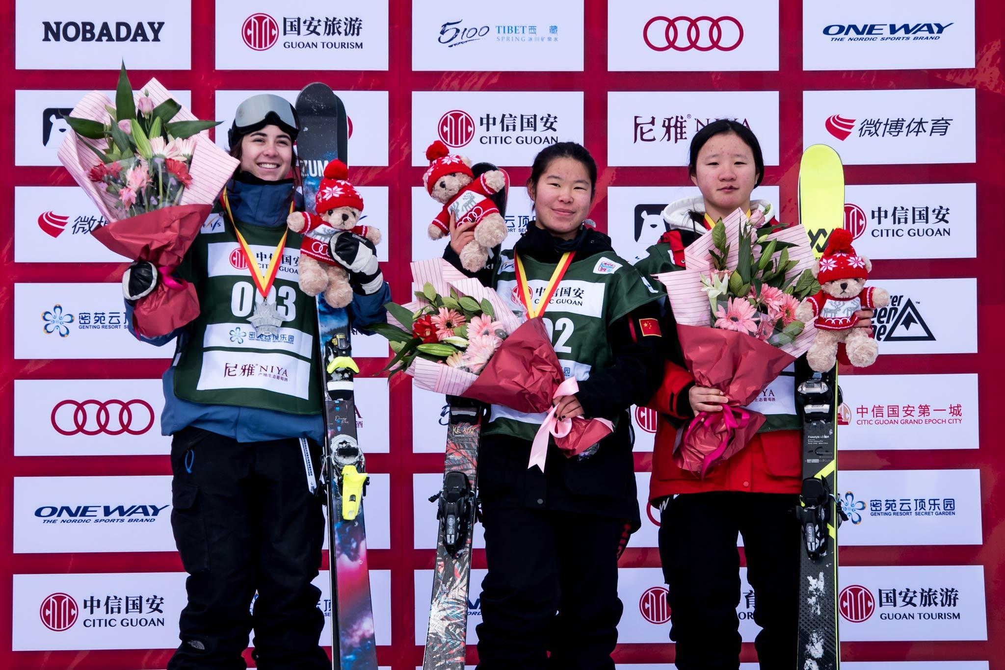 Die besten drei Frauen beim FIS Freestyle Halfpipe Worldcup in Secret Garden (China):