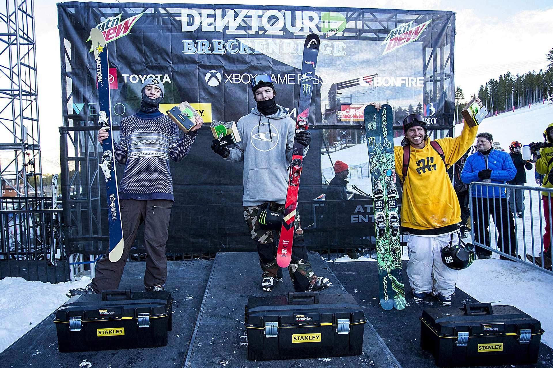 Dew Tour 2018 - Slopestyle Top 3: Alex Hall, Evan McEachran und Henrik Harlaut - Foto: dewtour.com