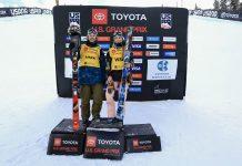 Die beiden Gewinner des Halfpipe Weltcups in Copper Mountain (USA): Aaron Blunck (USA) und Kelly Sildaru (EST)
