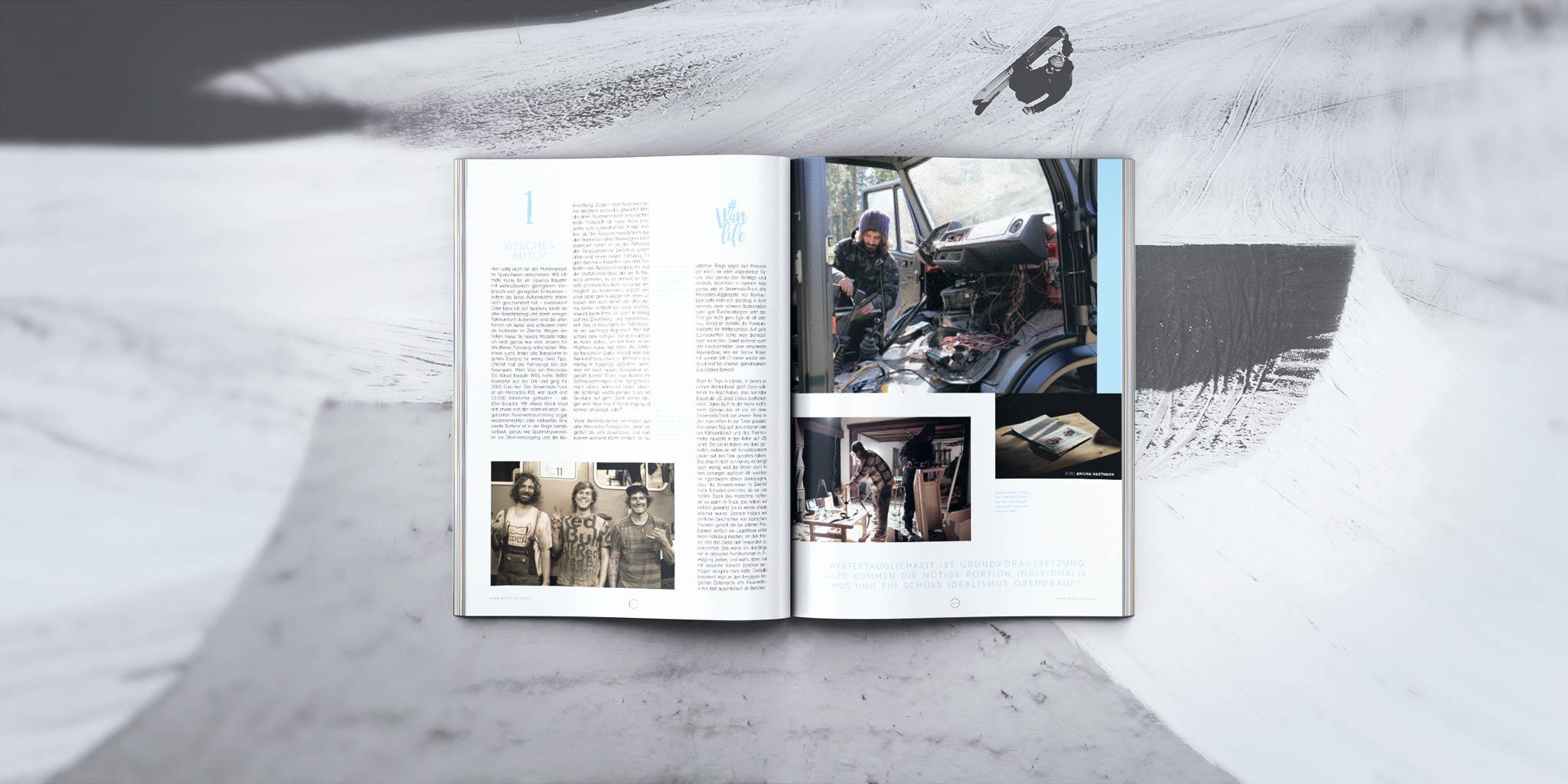 """""""#Vanlife – Bau dir deinen Wintercamper"""" in der PRIME Skiing #19 Print-Ausgabe mit Markus Ascher und der Snowmads Crew."""
