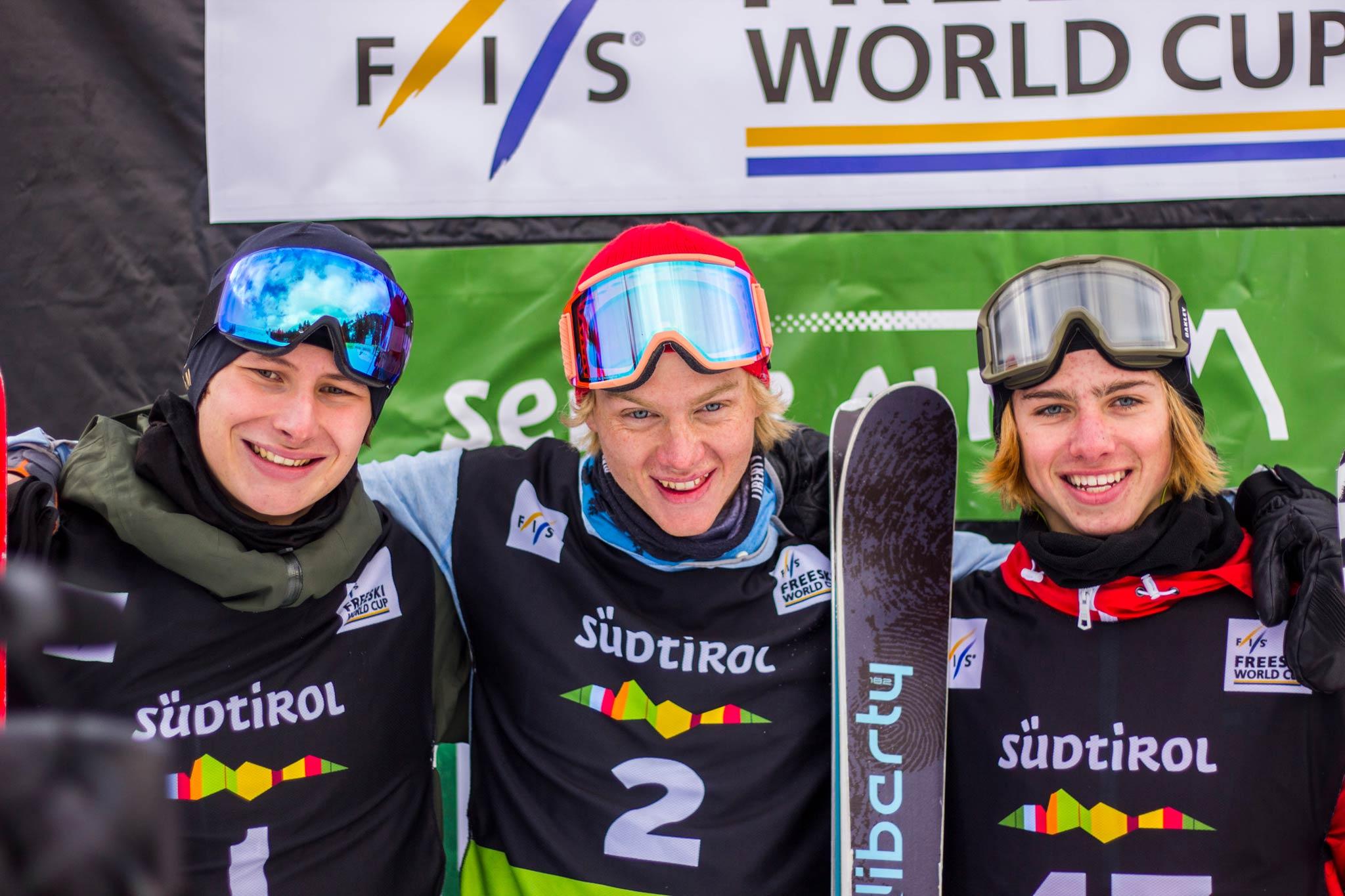 Die drei glücklichen Gewinner bei den Männern: Oliwer Magnusson, Max Moffat & Kiernan Fagan (v.l.n.r.) - Foto: Seiser Alm