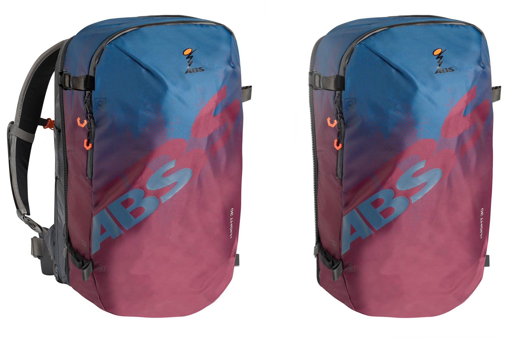 Der neue ABS Zip On DAWN: Links die Version mit und rechts die Version ohne Base (30L)
