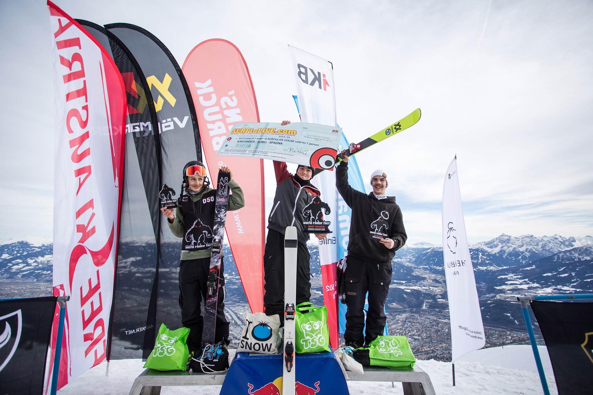 Nicco Huber aus Österreich gewinnt die Rookies (U19) Wertung, wird österreichischer Junioren Meister und qualifiziert sich damit für das Freeski World Rookie Finale auf der Seiser Alm (Italien) - Foto: Simon Rainer