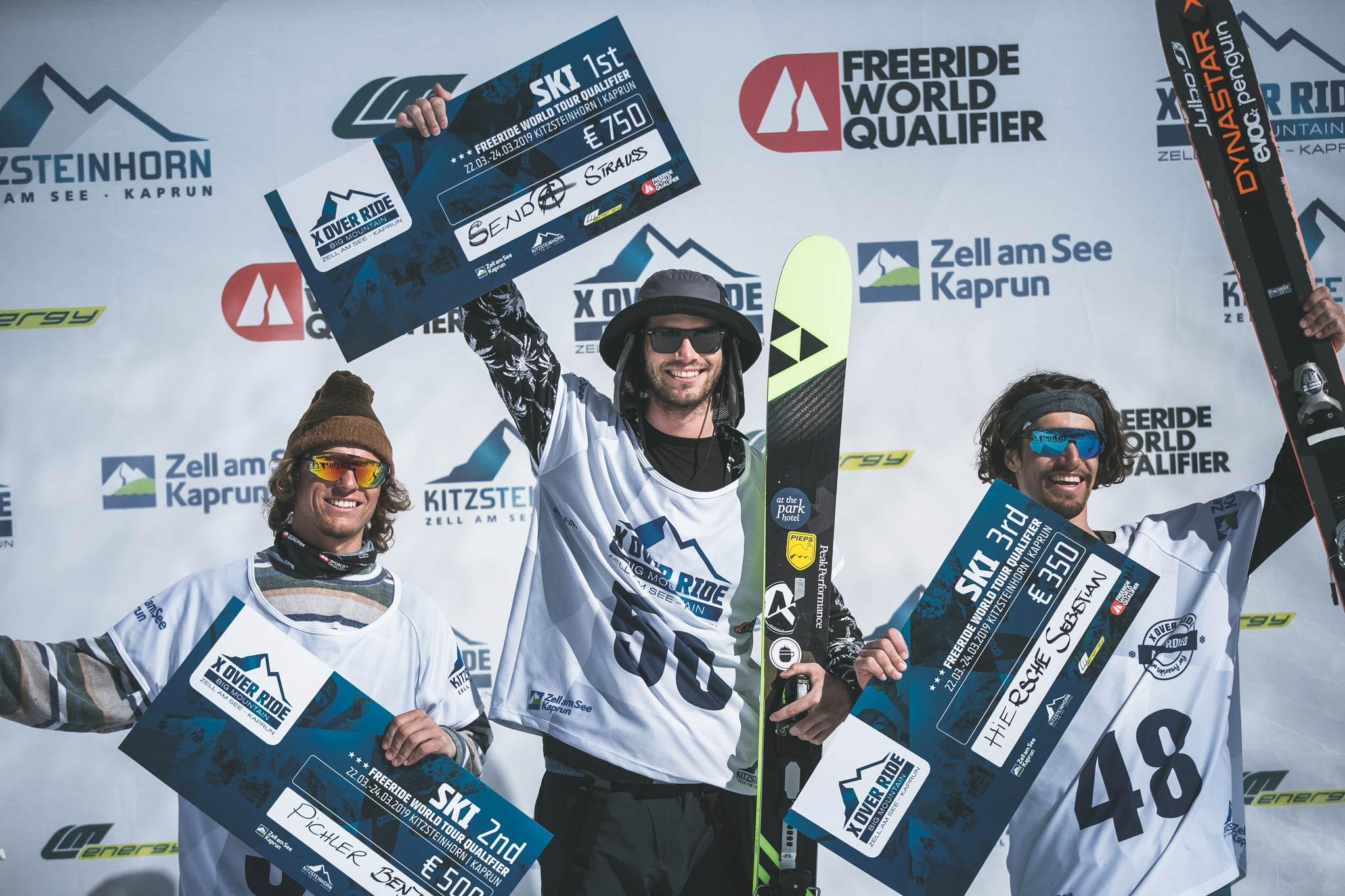 Die drei besten Männer beim X Over Ride 2019 am Kitzsteinhorn: Benjamin Pichler (AUT), Michael Strauss (AUT) & Sebastian Hiersche (AUT) - Foto: Mia Knoll
