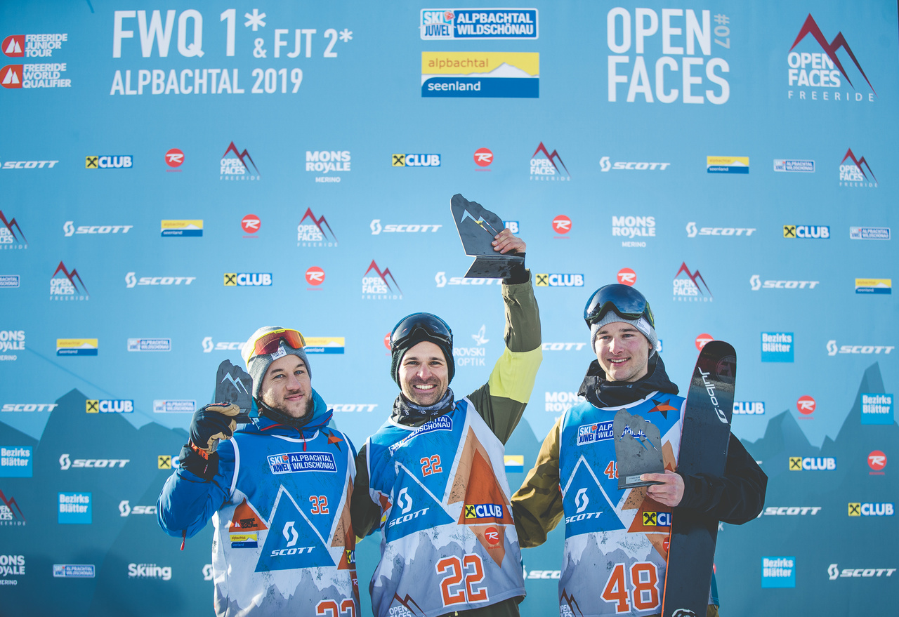 Die Top 3 Männer beim Open Faces Freeride Contest in Gastein (2018): Marius Buhl, Boyan Batchvarov und Christoph Siegl