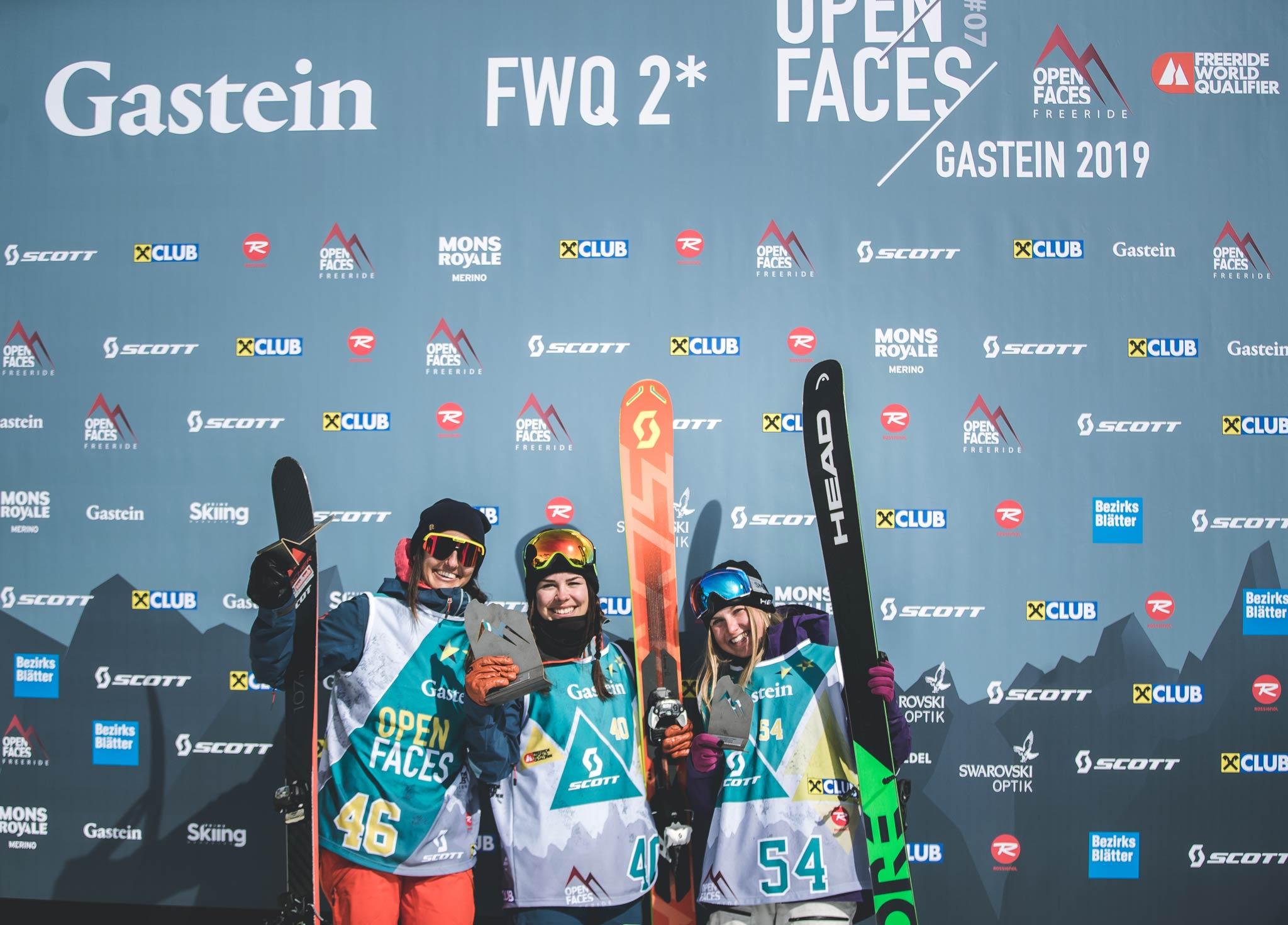 Die drei besten Frauen in Gastein: Sabine Schipflinger (AUT), Laura Überbacher (AUT) und Jill Frey (GER) Foto: Maria Knoll