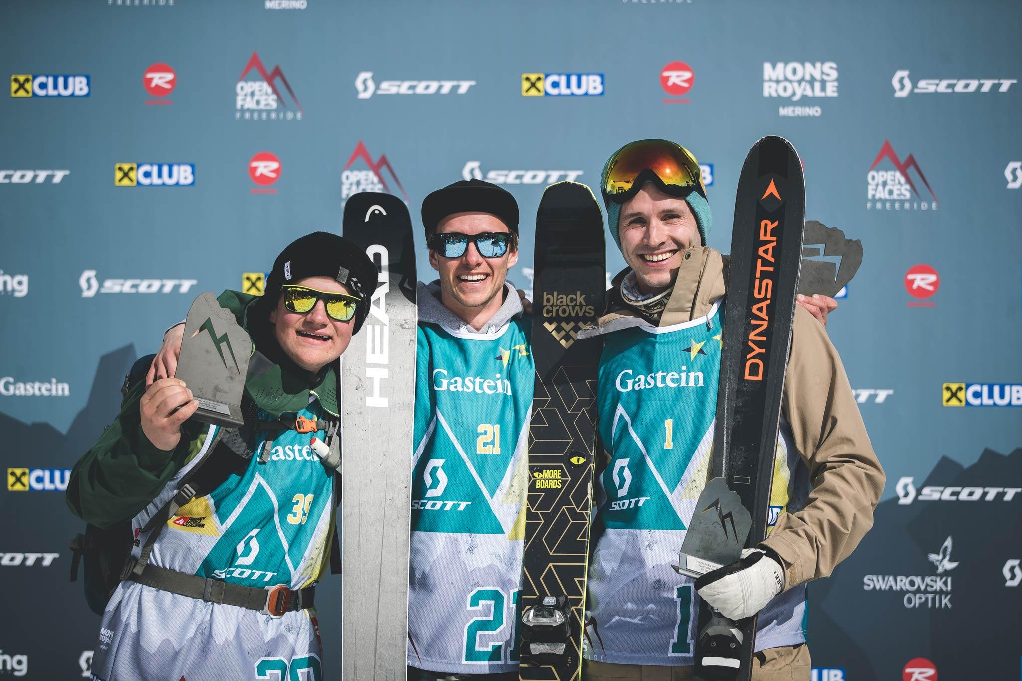 Die drei besten Männer in Gastein: Flo Gassner (GER), Andreas Jenewein (AUT) und Martin Krautschneider (AUT) Foto: Maria Knoll