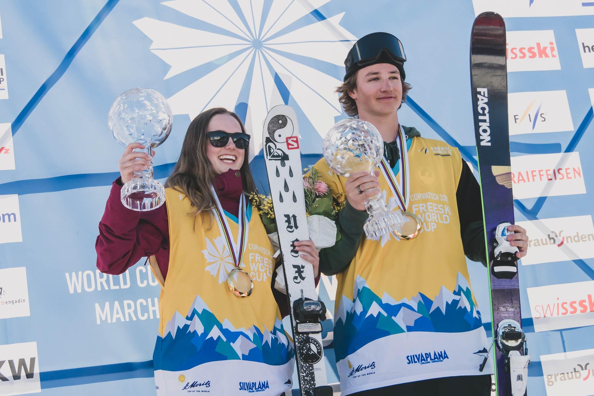 Die zwei Slopestyle Gesamtsieger in der Saison 18/19: Megan Oldham (CAN) & Mac Forehand (USA) - Foto: FIS Freestyle